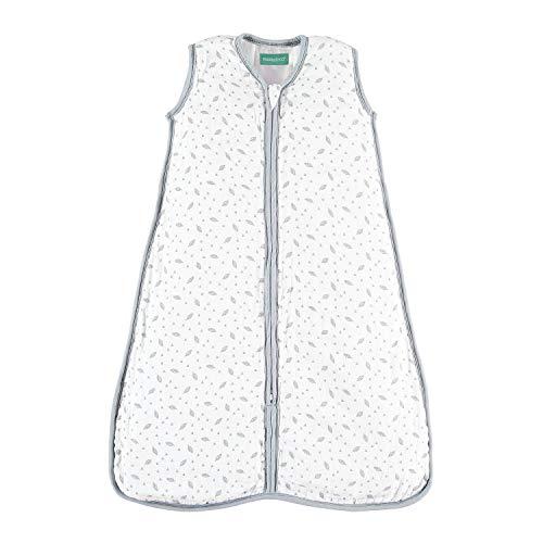 molis&co. Baby sommerschlafsack aus Premium-Musselin. Superweich und leicht. 6 bis 18 Monate. 90 cm. TOG 0.5. Ideal für den Sommer. Unisex-Druck von grauem Blatt. -