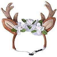 Sylvialuca Cute Pet Supplies Navidad Pet Reindeer Diadema Banda para el Cabello - Rojo l