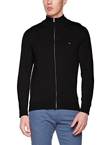 Tommy Hilfiger Herren Pullover Cotton Silk Zip Through, Schwarz (Jet Black 083), Large (Zip-strickjacke)