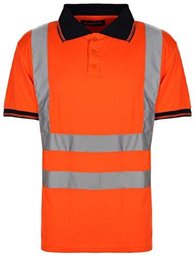 H&S Workwear High Visibility, kurzärmeliges Polo-T-Shirt, EN471 – HV004, Halbärmelig, Arbeitsshirt, 2 Farben zur Auswahl, XL, Orange