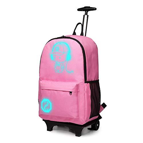 Kono Zaino Trolley per Scuola Impermeabile Ruote Rotolamento Removibile Scuola Borsa per Bambini (Rosa)