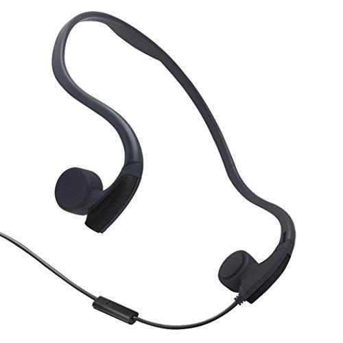 Effie Bone Conduction Kopfhörer mit Mikrofon Stereo Open-Ear Sport Kopfhörer mit Noise Reduction Mikrofon (Schwarz) (Bone Conduction Kopfhörer Wired)