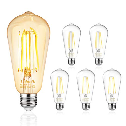 Uchrolls 5er Pack E27 LED Lampe 6W, Ersetzt 60W Glühlampen, 800LM, Warmweiß 2700K, ST58 E27 Edison Vintage Glühbirne, Filamentstil Klar,Nicht Dimmbar