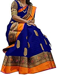 F 4 FASHION Women's Bhagalpuri Cotton Silk Multi Color Saree With Blouse Piece. (Free_Size)
