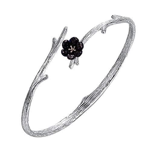 Jewboo 925argento sterling originale sakura apertura braccialetto regolabile della scultura fiore per le donne gioielli regalo e argento, colore: silver, cod. jewukb009-fba-02