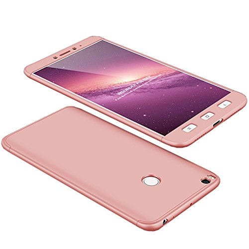 Funda Xiaomi Mi Max2 Max 2, 360 Grados Integral Carcasa Cuerpo Completo Caso Cubierta, 3 en 1 Híbrido Anti-Choque Snap On Diseño Bumper Case, Anti-Arañazos Anti-Huellas dactilares Duro Ligero Shell (Rosa)