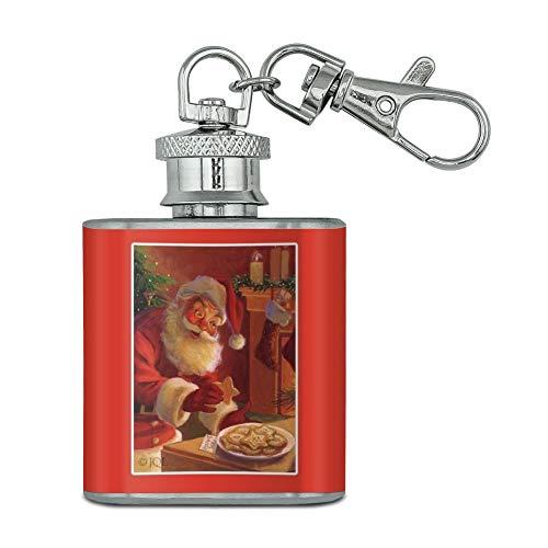 Vacances de Noël Père Noël Lait et cookies en acier inoxydable 28,3 gram Mini Bouteille Porte-clés