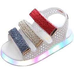 Zapatos Niña,Sandalias de verano para niños pequeños Chicos Chicas Bebé Zapatos luminosos LED Zapatillas deportivas LMMVP (28(EU), Blanco)