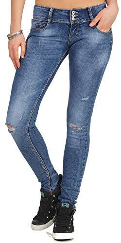 Hailys Damen Jeans Hose Camila Skinny Röhrenjeans Destroyed-Look GU-L205 Middle Blue M
