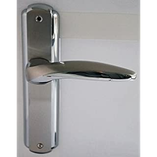 Modern Designs Internal Door Chrome Brushed Steel Handles on Long Backplate (S629-260)