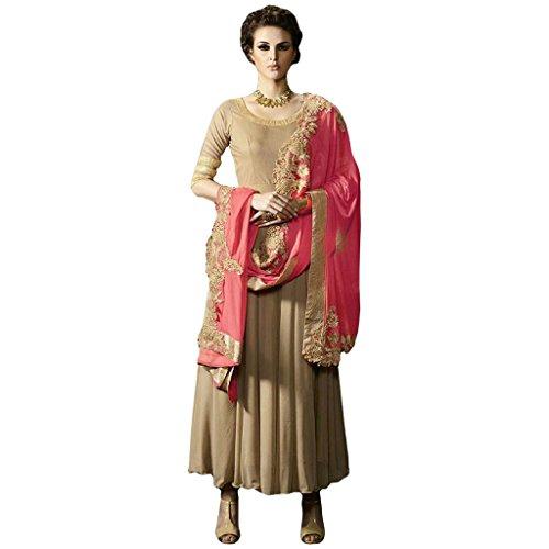 BEIGE COLOR LATEST INDIAN DESIGNER ANARKALI SALWAR KAMEEZ DRESS for women &...