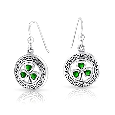 Silver Simulated Emerald Glass Clover Celtic Knot Earring