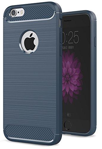 Oceanhome Schutzhülle apple iPhone 6 Plus Hülle , Stoßfest TPU Silikon Schutz hülle Rutschfeste Schlanke Handy hülle für apple iPhone 6 Plus Bumper Case , Carbon Gebürstet für iPhone 6 Plus Case Cover Marine