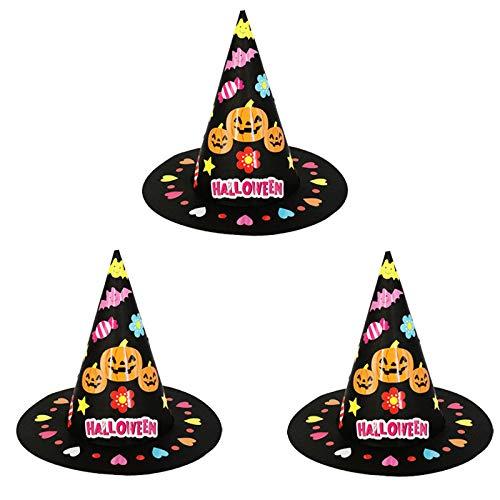 Fledermaus Muster Flügel Kostüm - Bogeger 3 Stücke DIY Papier Party Hüte, Kürbis Fledermaus Flügel Hut Kinder DIY Papier Top Hut Für Halloween Kostüm / Kostüm Party / Karneval / Cosplay (Kleine Flache Kappe)