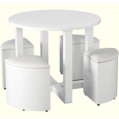 Charisma High Gloss Round 4 Seater Stowaway Dining Set in White - Color: White