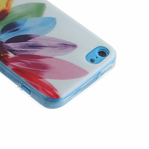 Voguecase® Per Apple iPhone 5C Custodia Case Cover fit ultra sottile Silicone Morbido Flessibile TPU Custodia Protettivo Skin Caso (piuma viola) Con Stilo Penna sette fiori colorati
