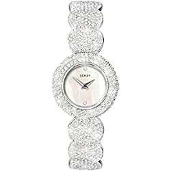 Seksy White Mother of Pearl dial Stone Set Bracelet made with 579 Swarovski® Crystals Ladies Watch 4851.37