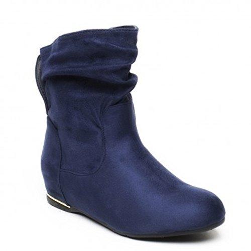 owboy Western Stiefel Boots Flache Schlupfstiefel Schuhe 89 (39, Blau 71) (Western-stiefel Für Damen Blau)