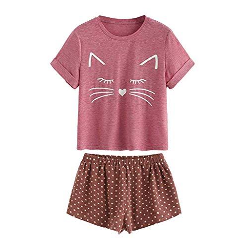 Holywin Pyjama T-Shirt décontracté à Manches Courtes Femme Vêtements de Nuit Ensemble de Nu