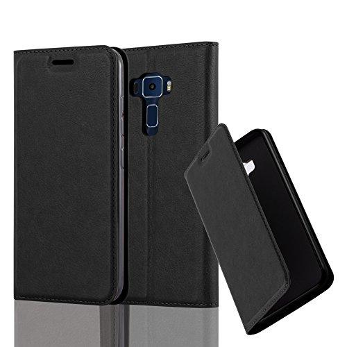 Cadorabo Hülle für ASUS ZenFone 3 - Hülle in Nacht SCHWARZ – Handyhülle mit Magnetverschluss, Standfunktion und Kartenfach - Case Cover Schutzhülle Etui Tasche Book Klapp Style