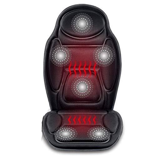 GST&GST Massage Auto Sitz Kissen - 6 Vibrierende Massage Knoten & 3 Heizung Pad, Auto Rücken Massager Mit Hitze, Sitz Wärmer Abdeckung -