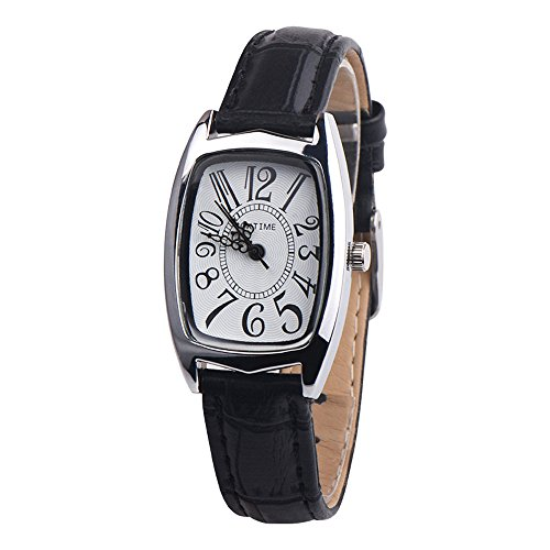 Uhren Dellin Mode lässig Chic Retangle Damen Lederband analog Quarzuhr (Schwarz)