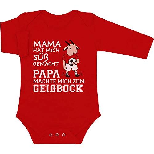 Shirtgeil Mama machte Mich süß Papa machte Mich zum Geißbock Baby Langarm Body 50/56 (0-3M) Rot