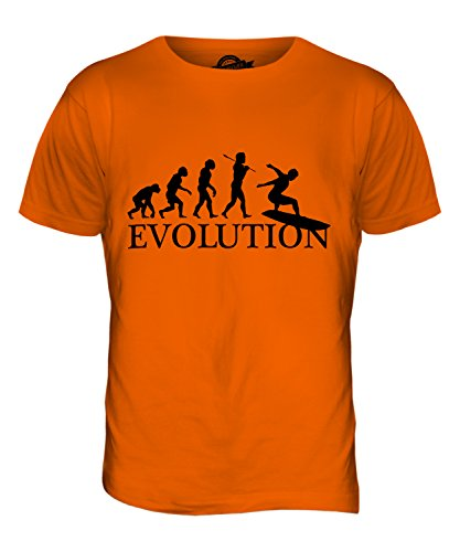 CandyMix Surfbrett Evolution Des Menschen Herren T Shirt Orange