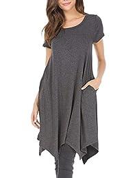 Kanpola Kleider Damen Sommerkleider Unregelmässig Basic Shirtkleid  Freizeitkleid Longshirts Tunikakleid Kinelang Kurz Minikleid mit Taschen 4e56e952e9
