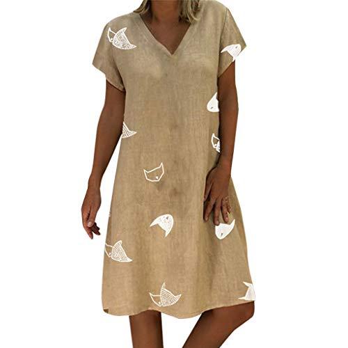 SANFASHION Damen Sommerkleid Baumwolle Leinen Kleider,Kurzarm Blumendruck V-Ausschnitt Strandkleider A-Linie Boho Knielang Kleid Lose Große Größen Shirtkleid