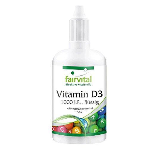 fairvital vitamin d3 Vitamin D3 1000 I.E. flüssig - GROSSPACKUNG mit ca. 1600 Tropfen pro Flasche - 1000 I.E. pro Tropfen Vitamin D3-Öl - 50ml