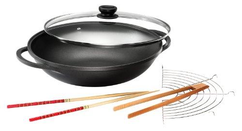 Karcher Wok Mai-Lin (Aluguss, Ø 36 cm, Durit-Select-Antihaftbeschichtung, inkl. Glasdeckel und Zubehör) schwarz