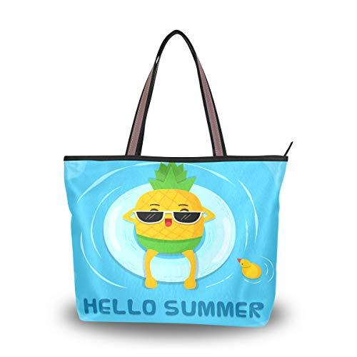 Hello Summer Ananas Damen stylische Shopper Handtasche Schultertasche Einkaufstasche für Damen Herren Reise Strand Messenger Bag mit Reißverschluss lässig große Kapazität