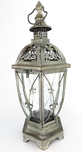 Antike Kerze Laterne (exklusive Laterne Windlicht XXL schwarz Innen / Außen Windschutz Kerze Gartenlaterne aus Metall RETRO Lampe antik rustikal)