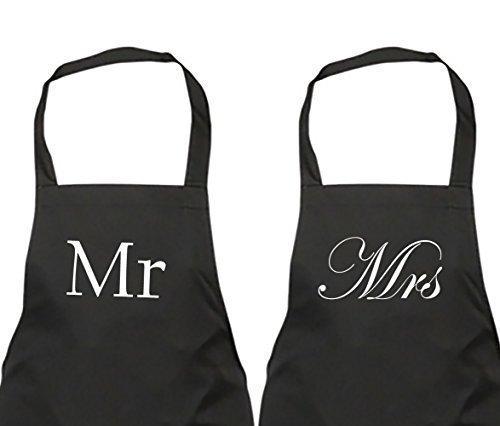 Paare Herr und Frau Schwarz Schürze Set Neuheit Geschenk Hochzeitstag Ehemann Ehefrau Haus Einweihung Küche Geschenk (Paar Schürze)
