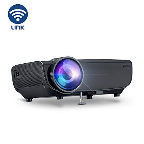 YONTEX Proyector WiFi inalámbrico 3600 Lumen Mini Portátil Proyector Cine en Casa 1080P WiFi Conectar Directamente con teléfono Tableta computadora portátil, Compatible con HDMI VGA AV USB SD, Negro