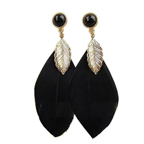 Schmuck Damen DAY.LIN Bohemian Style Bead Quaste Feder Ohrringe Mode Feder Kette Dangle Ohrring (Schwarz)