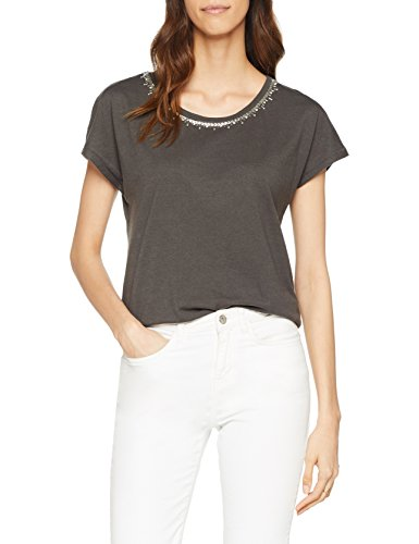 ONLY Damen T-Shirt onlFLAXA SS Embellishment TOP Box JRS, Grau (Beluga Detail: with Silver), 34...