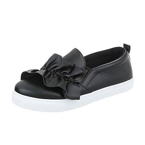 Sneakers Ital-design Basse Sneakers Da Donna Basse Scarpe Casual Moderne Nere G-26