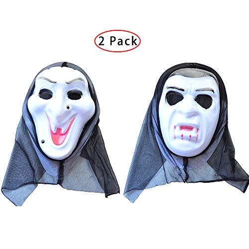 Kungfu Mall 1PC Hexe Maske & 1PC Vampir Gesichtsmaske für Halloween Horror Kostüm Prop Dress Up - Horror Dress Up Kostüm