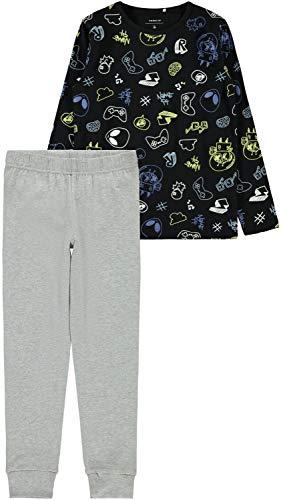 NAME IT Jungen Schlafanzug lang Pyjama NKMNIGHTSET Glow in The Dark, Größe:140, Farbe:Black
