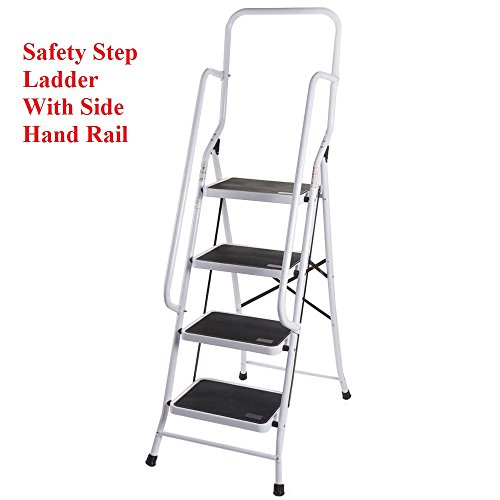 Escalera plegable con 4 peldaños, antideslizante y con pasamanos de seguridad