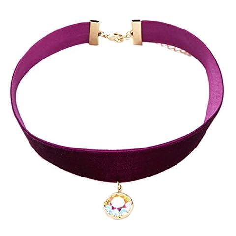 Tpocean Klassische Retro Burgund Samt Choker Halskette Diamant besetzt Anhänger Halsband Halskette für Damen Mädchen