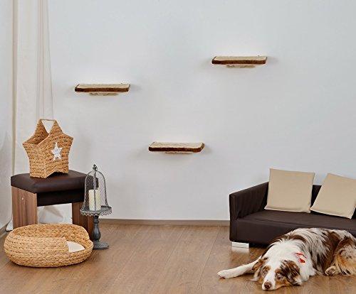 animal-design Katzen Kletterwand 3-teilig Wall Katzenmöbel platzsparende stabile Katzentreppe für die Wand aus Plüsch beige braun