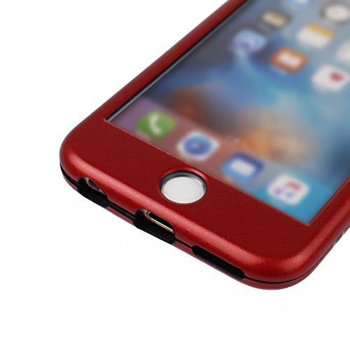 Dur Coque Pour iPhone 6/6S, Asnlove PC Hard Cover Intégrale Avant et Arrière Housse avec Protection d'écran en Verre Trempé Cas Rigide Étui Antichoc Case Pour iPhone 6/6S - Blanc Rouge