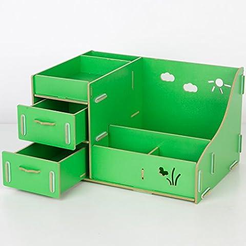 Desktop cosméticos admitir cartucho de madera del cajón portaobjetos cosméticos admitir rack rack multicapa ,131- pasto verde