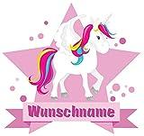 Samunshi® Großes Einhorn Wandtattoo Türschild mit Name personalisierbar Kinderzimmer Türaufkleber Baby Wandaufkleber in 9 Größen (50x43cm Mehrfarbig)