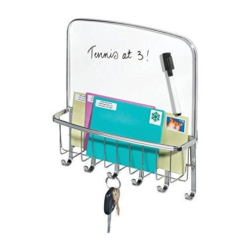 mDesign Briefablage und Schlüsselleiste - für die Aufbewahrung von Schlüsseln, Briefen, Prospekten - mit weißer Tafel und Stift - Schlüsselbrett mit Ablage - silberfarben