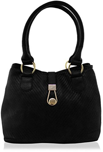 KUKUBIRD GROOVES FAUX LEATHER DESIGNER TOTE MEDIUM SIZE HANDBAG BLACK