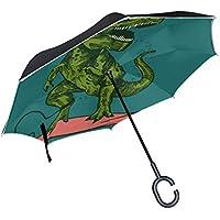 MAILIM Green Dinosaur - Paraguas invertido de Doble Capa Resistente al Viento, Mango C,